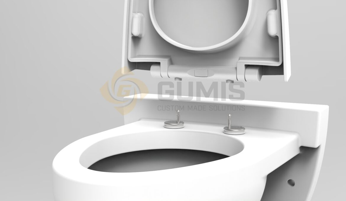 Closeup of Gumis detachable toilet seat