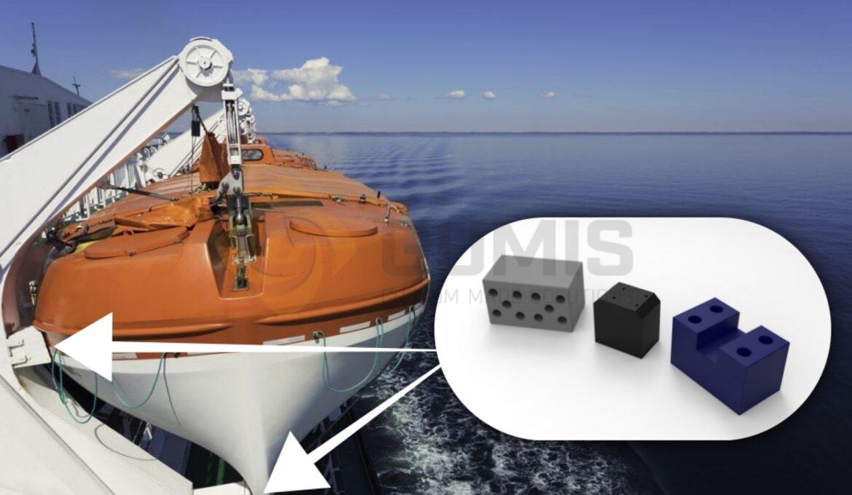 Lifeboat rubber skates for deck mount