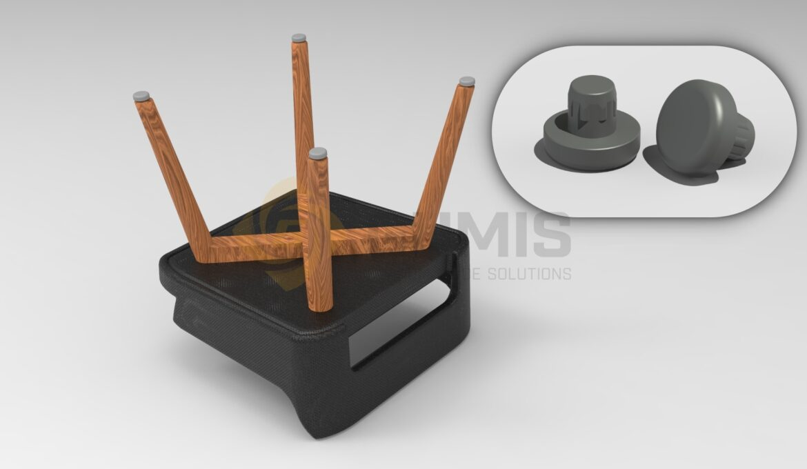 Plastic plug for wooden furniture suitable for interior use