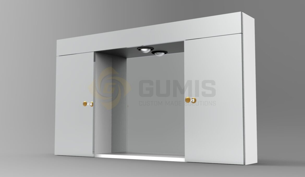 Medicine cabinet with mirror and LED lighting