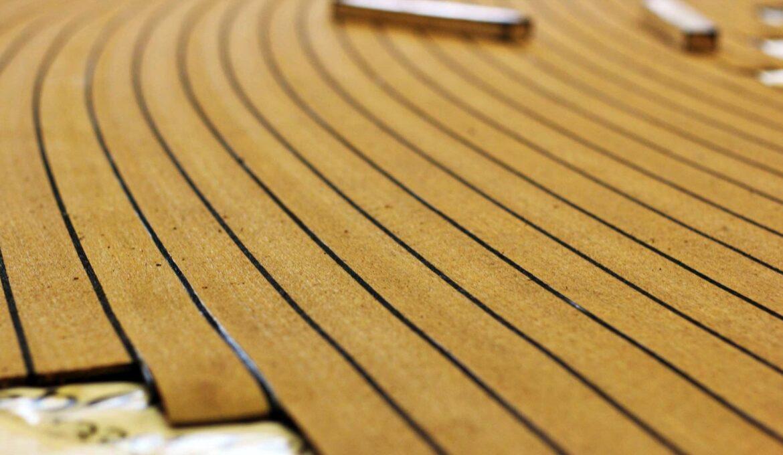 Composite teak decking in stripes