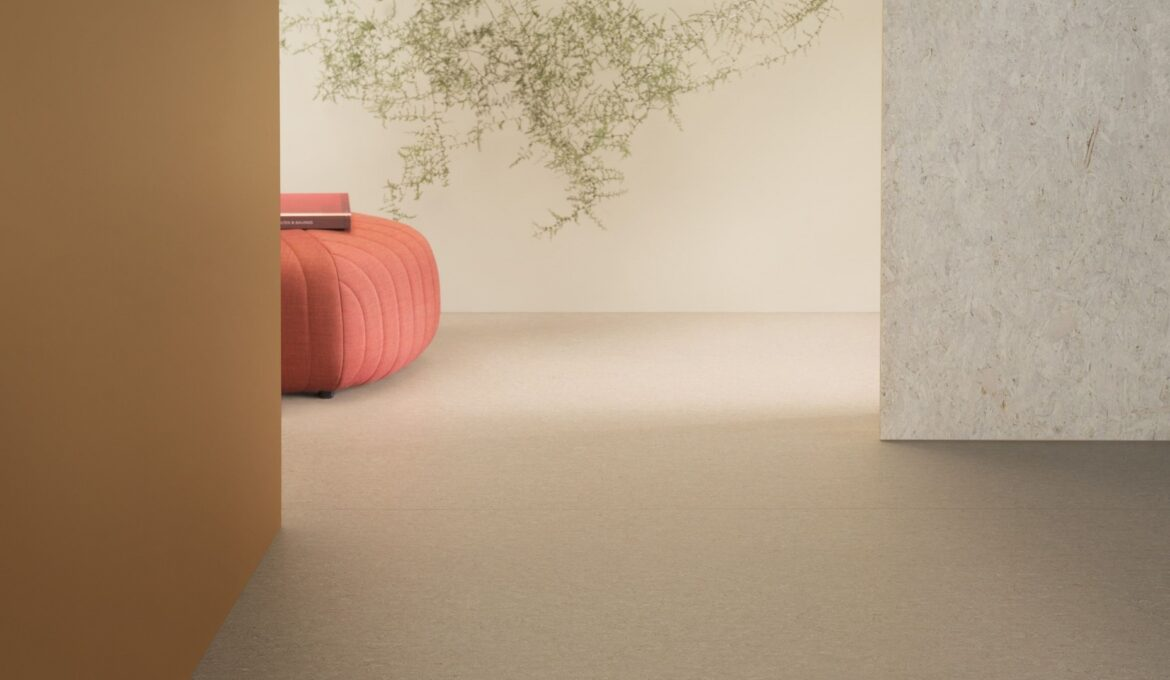 Linoleum flooring available in different colors and with flammability certificate