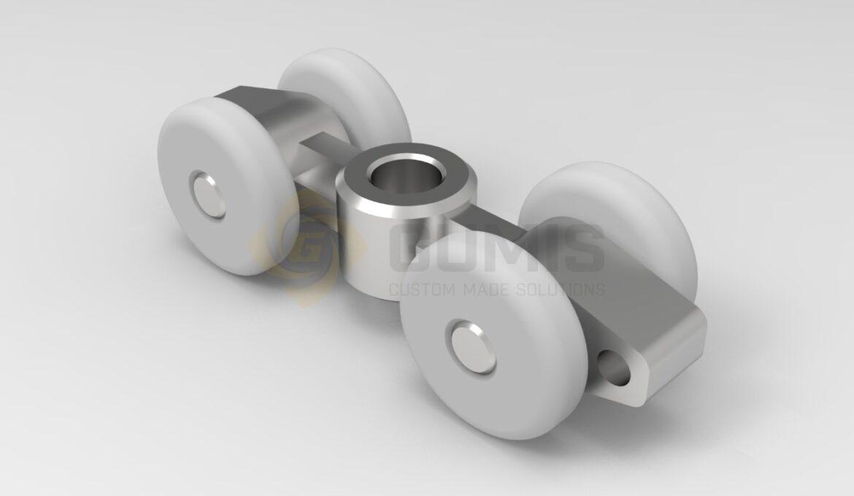 Plastic rollers for sliding furniture door