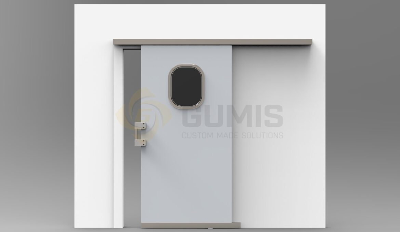 Sliding door with window