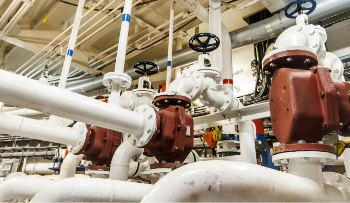 Various piping systems in the engine room